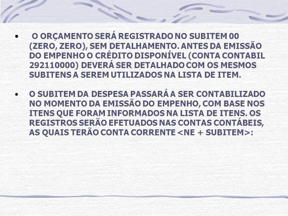 O ORÇAMENTO SERÁ REGISTRADO NO SUBITEM 00 (ZERO, ZERO), SEM DETALHAMENTO.