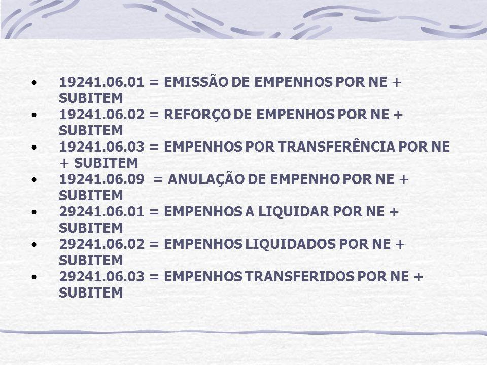 19241.06.01 = EMISSÃO DE EMPENHOS POR NE + SUBITEM 19241.06.02 = REFORÇO DE EMPENHOS POR NE + SUBITEM 19241.06.03 = EMPENHOS POR TRANSFERÊNCIA POR NE + SUBITEM 19241.06.09 = ANULAÇÃO DE EMPENHO POR NE + SUBITEM 29241.06.01 = EMPENHOS A LIQUIDAR POR NE + SUBITEM 29241.06.02 = EMPENHOS LIQUIDADOS POR NE + SUBITEM 29241.06.03 = EMPENHOS TRANSFERIDOS POR NE + SUBITEM