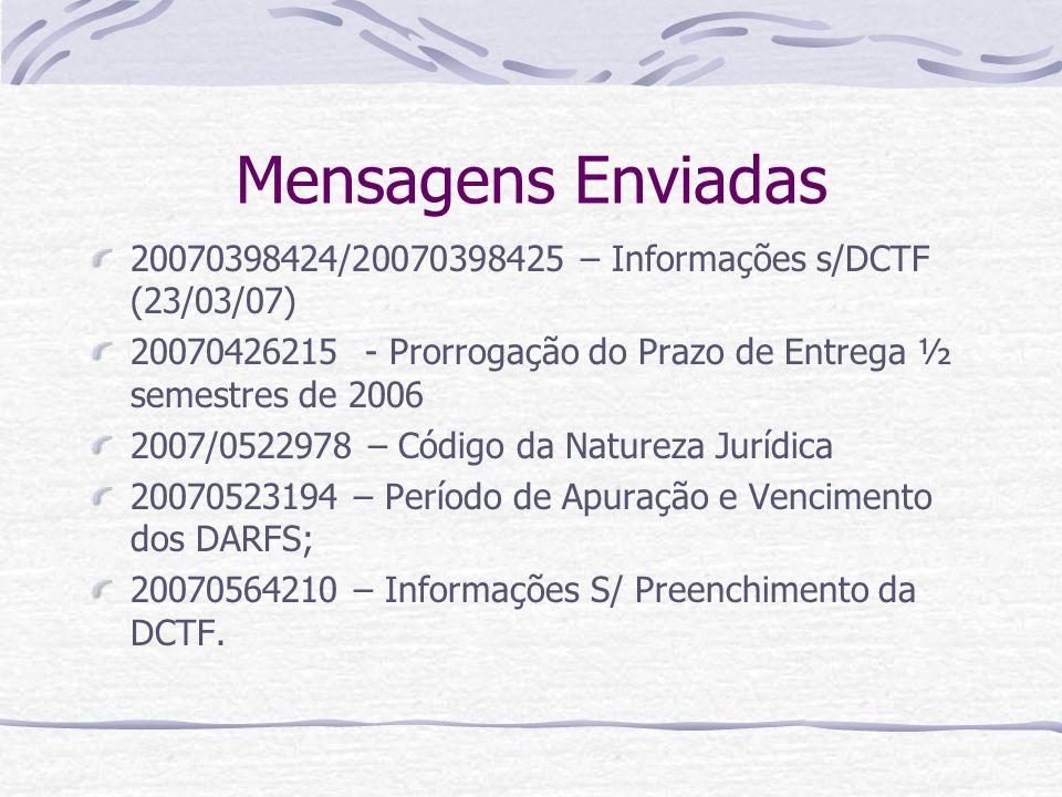 Mensagens Enviadas 20070398424/20070398425 – Informações s/DCTF (23/03/07) 20070426215 - Prorrogação do Prazo de Entrega ½ semestres de 2006 2007/0522