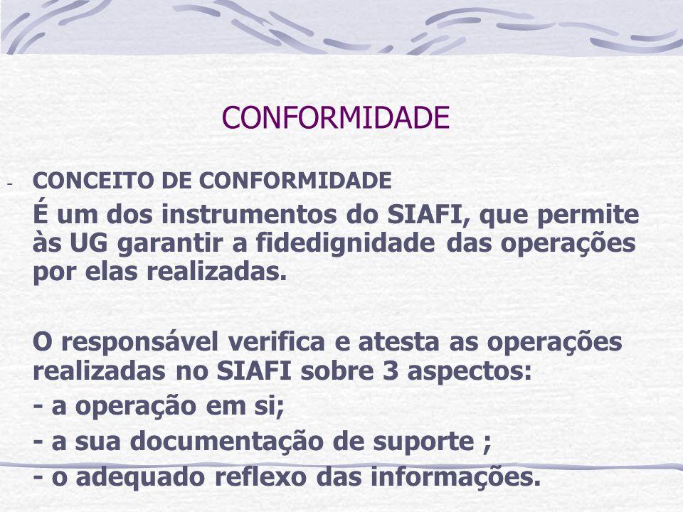 CONFORMIDADE - CONCEITO DE CONFORMIDADE É um dos instrumentos do SIAFI, que permite às UG garantir a fidedignidade das operações por elas realizadas.