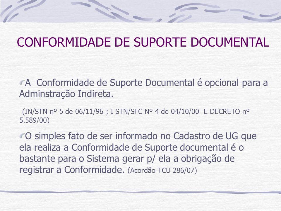 CONFORMIDADE DE SUPORTE DOCUMENTAL A Conformidade de Suporte Documental é opcional para a Adminstração Indireta.