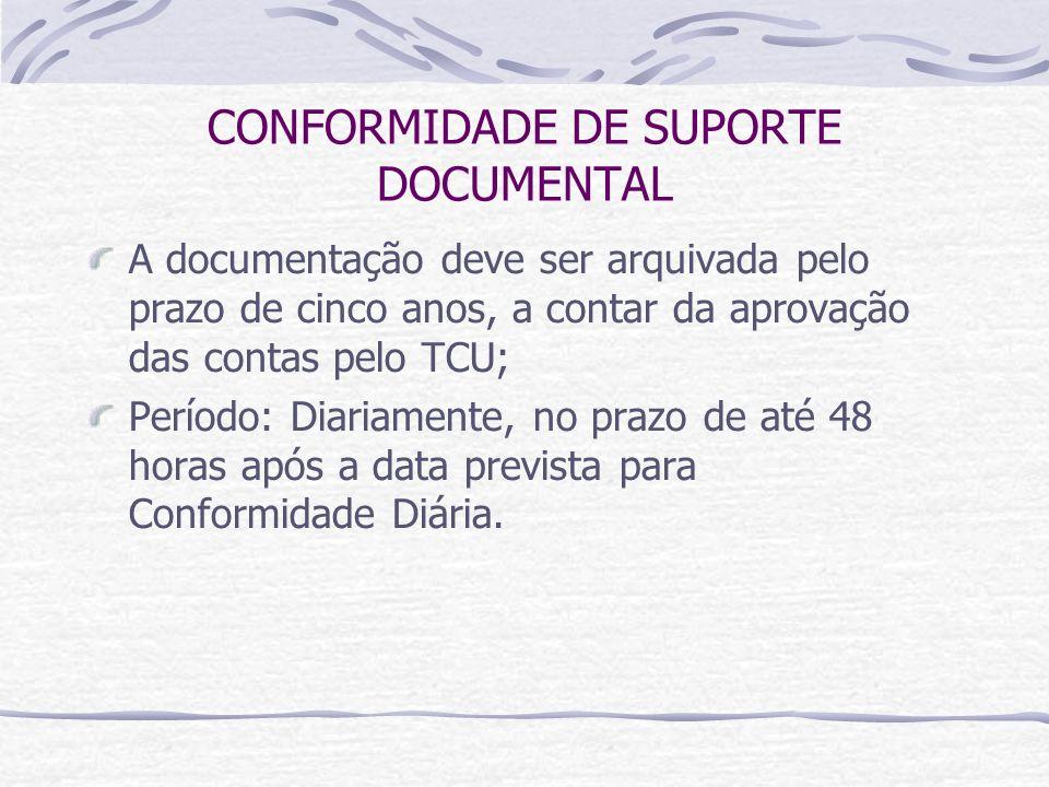 CONFORMIDADE DE SUPORTE DOCUMENTAL A documentação deve ser arquivada pelo prazo de cinco anos, a contar da aprovação das contas pelo TCU; Período: Diariamente, no prazo de até 48 horas após a data prevista para Conformidade Diária.