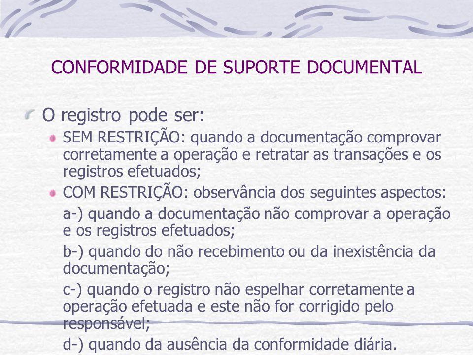 CONFORMIDADE DE SUPORTE DOCUMENTAL O registro pode ser: SEM RESTRIÇÃO: quando a documentação comprovar corretamente a operação e retratar as transações e os registros efetuados; COM RESTRIÇÃO: observância dos seguintes aspectos: a-) quando a documentação não comprovar a operação e os registros efetuados; b-) quando do não recebimento ou da inexistência da documentação; c-) quando o registro não espelhar corretamente a operação efetuada e este não for corrigido pelo responsável; d-) quando da ausência da conformidade diária.