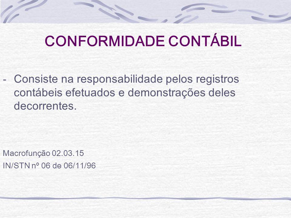 CONFORMIDADE CONTÁBIL - Consiste na responsabilidade pelos registros contábeis efetuados e demonstrações deles decorrentes. Macrofunção 02.03.15 IN/ST