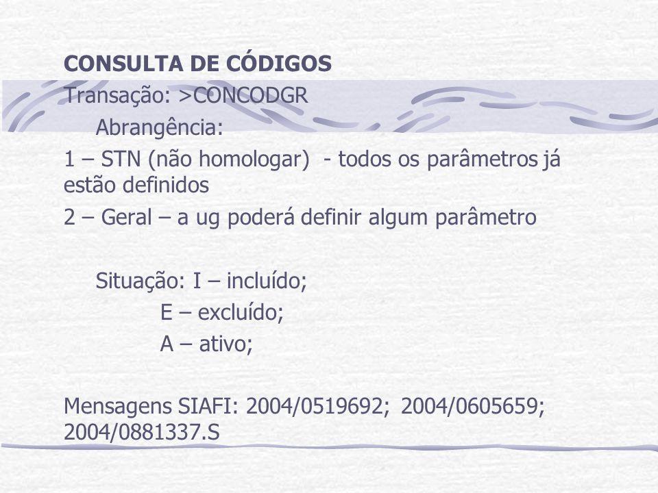 CONSULTA DE CÓDIGOS Transação: >CONCODGR Abrangência: 1 – STN (não homologar) - todos os parâmetros já estão definidos 2 – Geral – a ug poderá definir algum parâmetro Situação:I – incluído; E – excluído; A – ativo; Mensagens SIAFI: 2004/0519692; 2004/0605659; 2004/0881337.S
