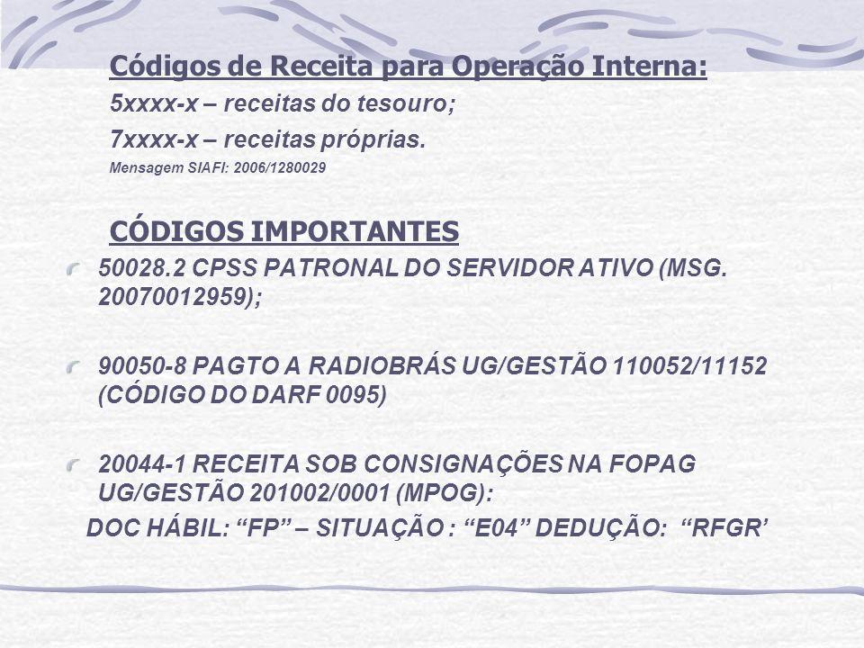 Códigos de Receita para Operação Interna: 5xxxx-x – receitas do tesouro; 7xxxx-x – receitas próprias. Mensagem SIAFI: 2006/1280029 CÓDIGOS IMPORTANTES