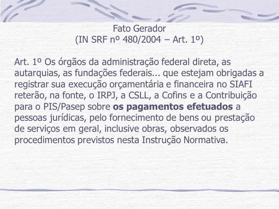 Fato Gerador (IN SRF nº 480/2004 – Art.1º) Art.