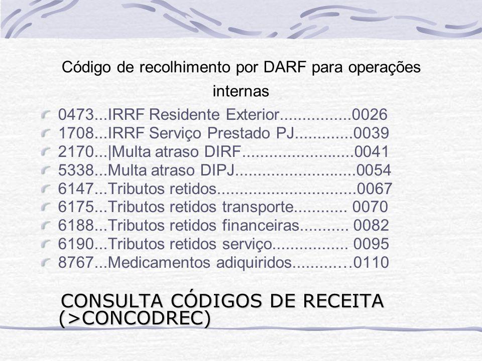 Código de recolhimento por DARF para operações internas 0473...IRRF Residente Exterior................0026 1708...IRRF Serviço Prestado PJ.............0039 2170...|Multa atraso DIRF.........................0041 5338...Multa atraso DIPJ...........................0054 6147...Tributos retidos...............................0067 6175...Tributos retidos transporte............
