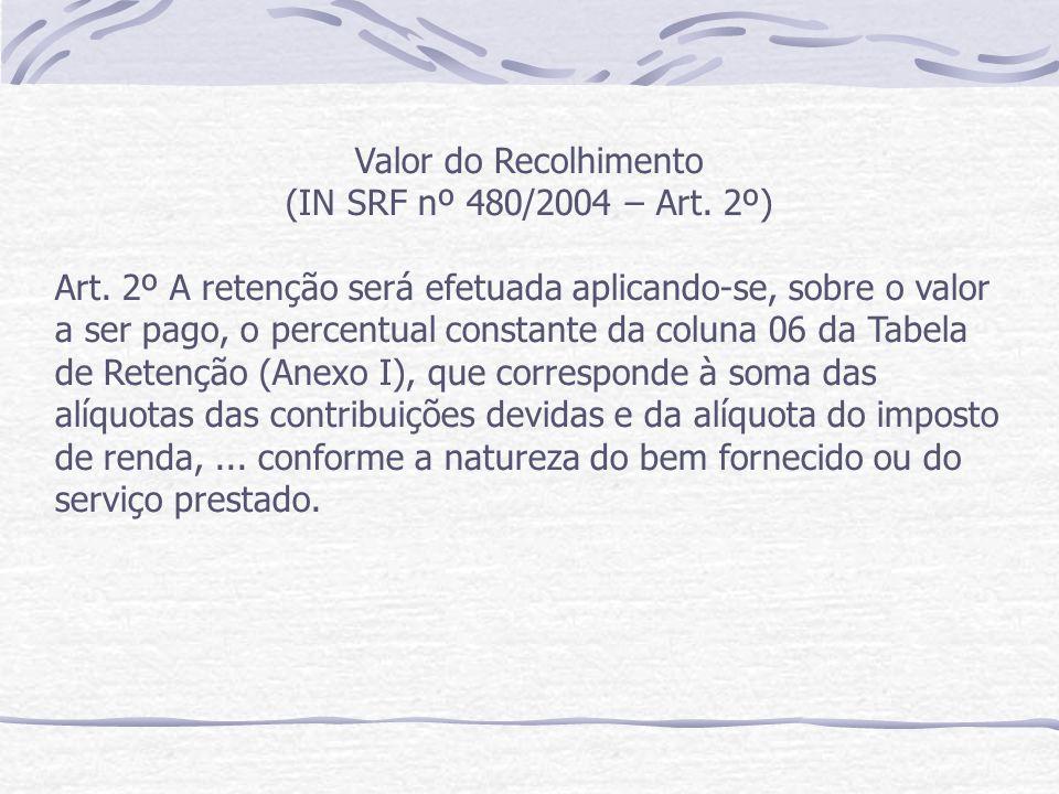 Valor do Recolhimento (IN SRF nº 480/2004 – Art.2º) Art.