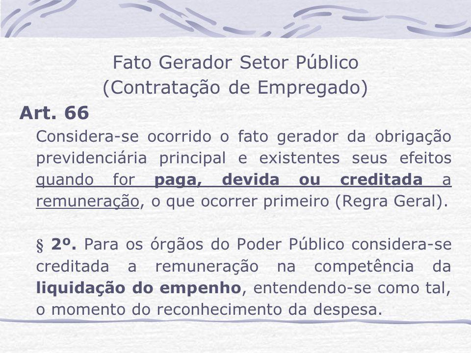 Fato Gerador Setor Público (Contratação de Empregado) Art.