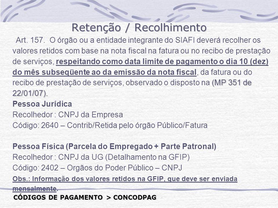 Retenção / Recolhimento (MP 351 de 22/01/07).Art.