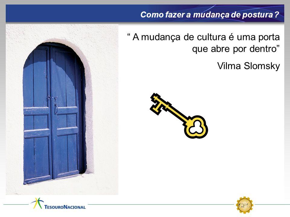 A mudança de cultura é uma porta que abre por dentro Vilma Slomsky Como fazer a mudança de postura ?