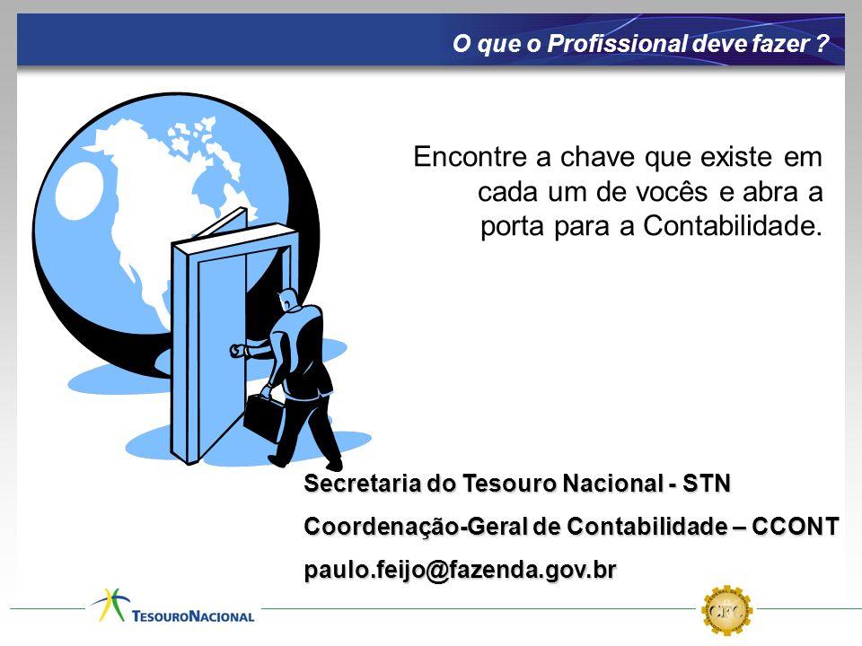 Secretaria do Tesouro Nacional - STN Coordenação-Geral de Contabilidade – CCONT paulo.feijo@fazenda.gov.br O que o Profissional deve fazer ? Encontre