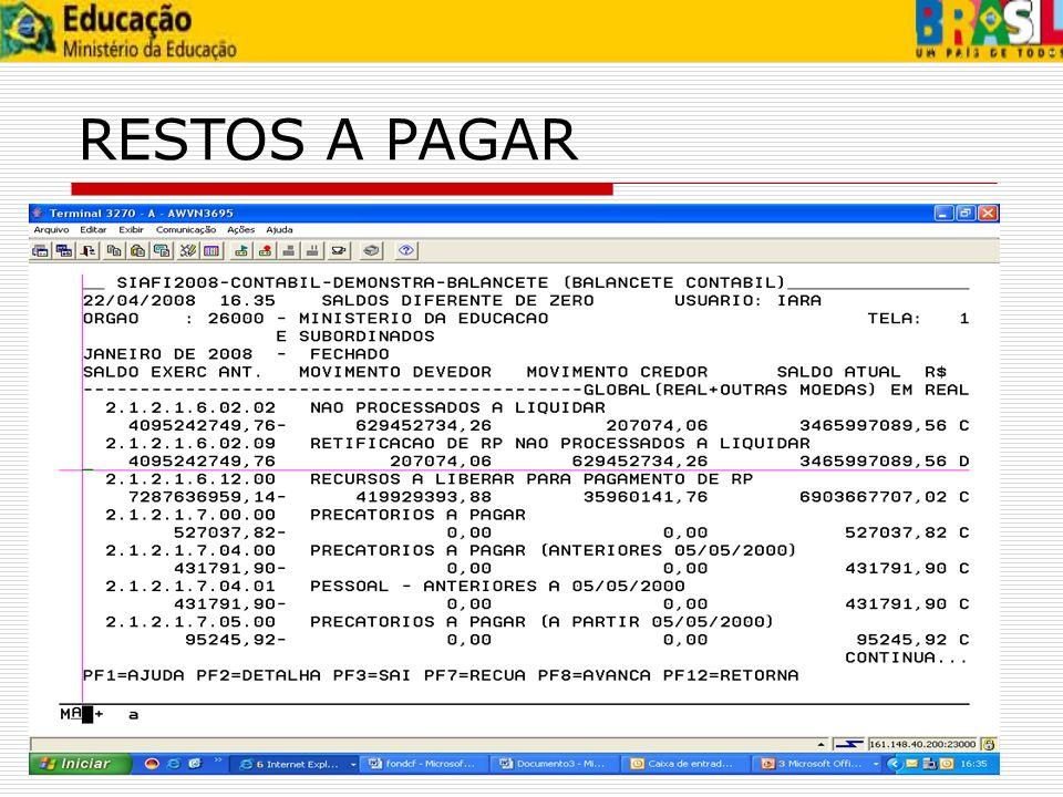 Os saldos das contas 292410402 -VALORES LIQUIDADOS A PAGAR, 295400000 – RESTOS A PAGAR LIQUIDADOS e 292410508 - RESTOS A PAGAR LIQUIDADOS - NO EX.