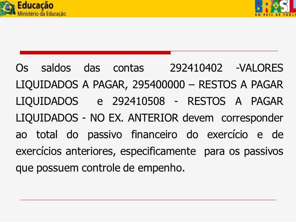 Os valores existentes nas contas 292410402, 292410508 e 295400000 sem a correspondência no passivo financeiro devem ajustados: a) Para os passivos do exercício corrente com saldo na conta 292410402, que foram pagos, utilizar o evento 54.0.722.