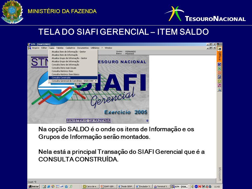 MINISTÉRIO DA FAZENDA TELA DO SIAFI GERENCIAL – ITEM SALDO Na opção SALDO é o onde os itens de Informação e os Grupos de Informação serão montados. Ne