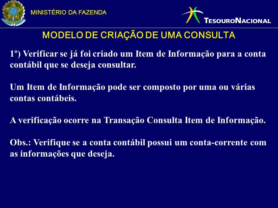 MINISTÉRIO DA FAZENDA MODELO DE CRIAÇÃO DE UMA CONSULTA 1º) Verificar se já foi criado um Item de Informação para a conta contábil que se deseja consu