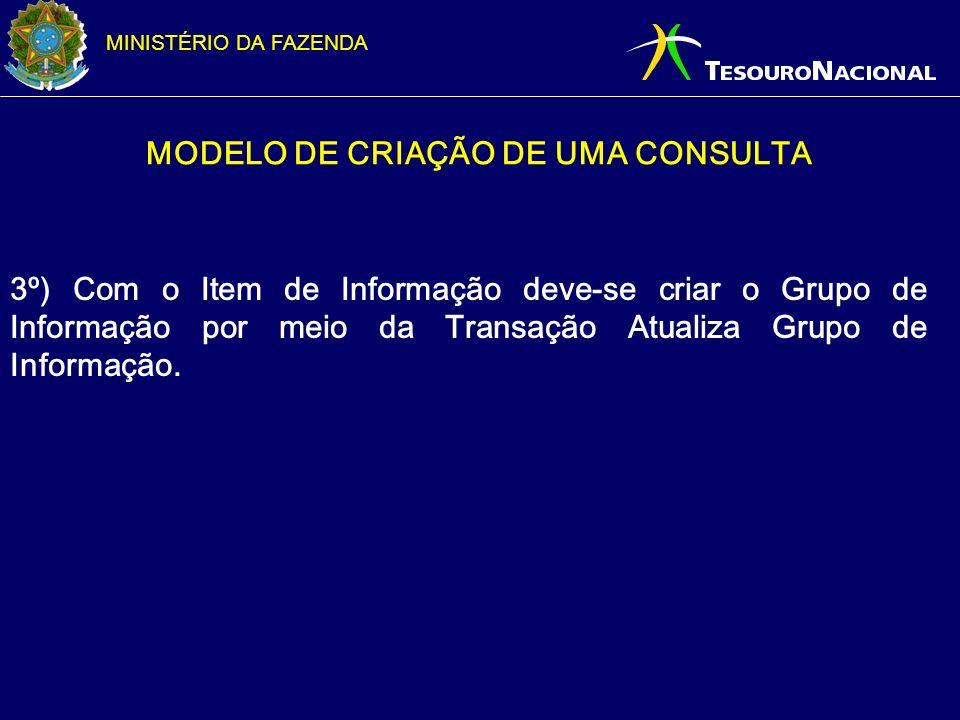 MINISTÉRIO DA FAZENDA MODELO DE CRIAÇÃO DE UMA CONSULTA 3º) Com o Item de Informação deve-se criar o Grupo de Informação por meio da Transação Atualiz