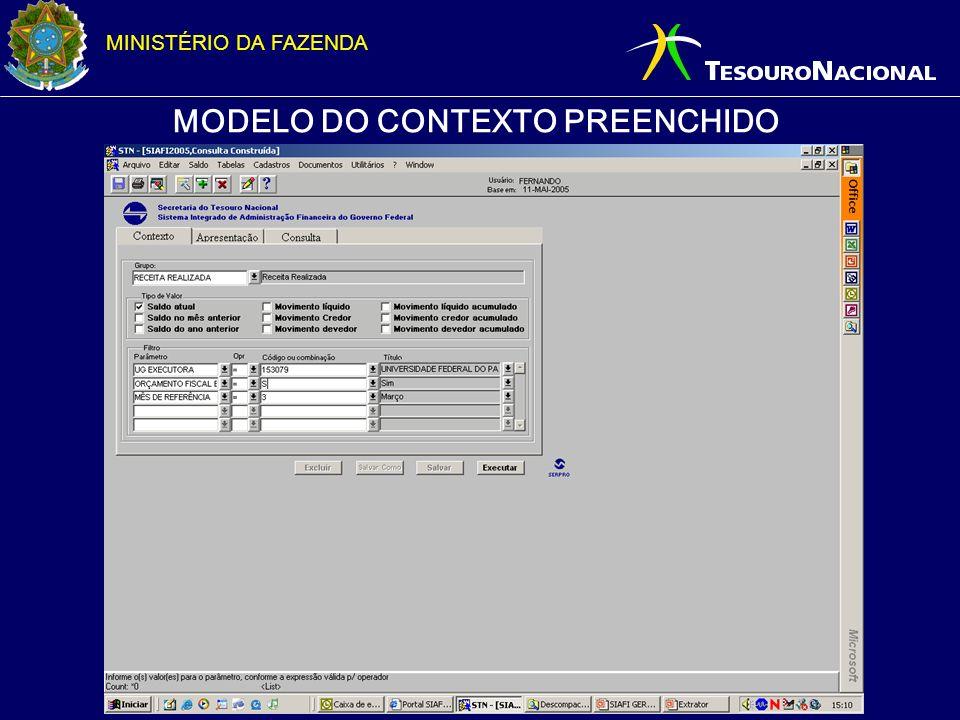 MINISTÉRIO DA FAZENDA MODELO DO CONTEXTO PREENCHIDO