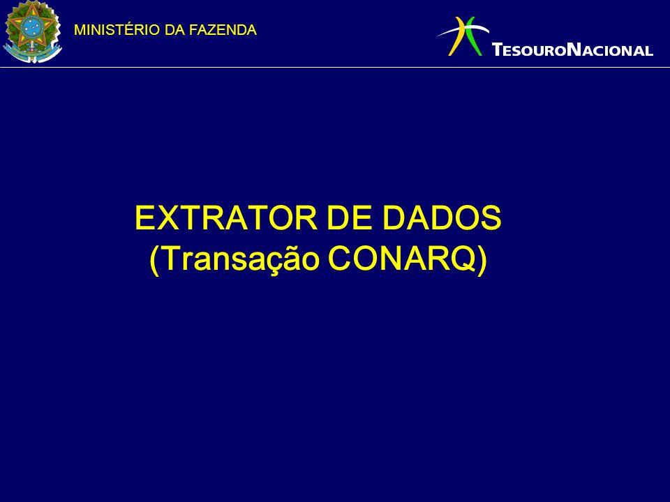 MINISTÉRIO DA FAZENDA EXTRATOR DE DADOS (Transação CONARQ)