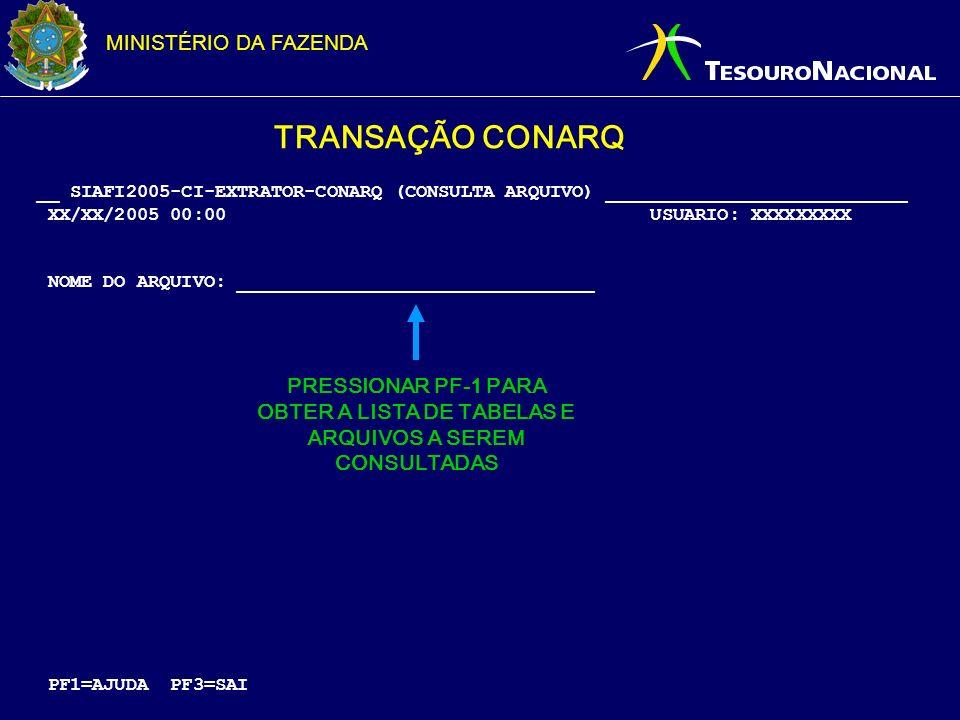 MINISTÉRIO DA FAZENDA __ SIAFI2005-CI-EXTRATOR-CONARQ (CONSULTA ARQUIVO) ___________________________ XX/XX/2005 00:00 USUARIO: XXXXXXXXX NOME DO ARQUI
