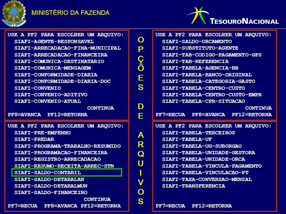 MINISTÉRIO DA FAZENDA USE A PF2 PARA ESCOLHER UM ARQUIVO: SIAFI-AGENTE-RESPONSAVEL SIAFI-ARRECADACAO-FINA-MUNICIPAL SIAFI-ARRECADACAO-FINANCEIRA SIAFI