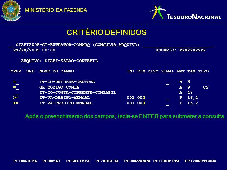 MINISTÉRIO DA FAZENDA __ SIAFI2005-CI-EXTRATOR-CONARQ (CONSULTA ARQUIVO) ___________________________ XX/XX/2005 00:00 USUARIO: XXXXXXXXXX ARQUIVO: SIA