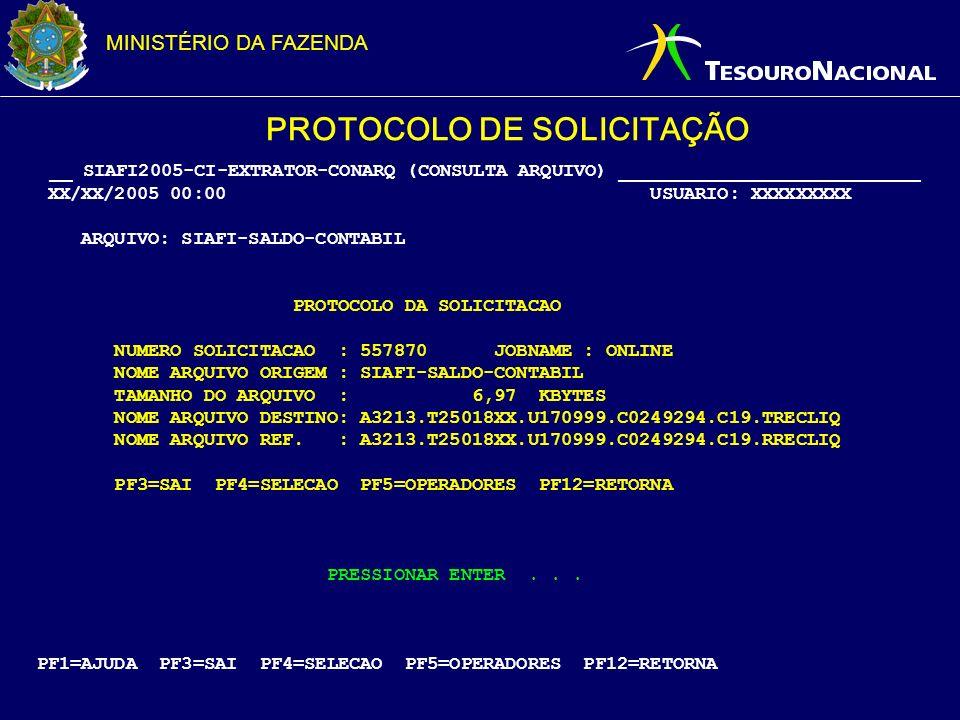 MINISTÉRIO DA FAZENDA PROTOCOLO DE SOLICITAÇÃO __ SIAFI2005-CI-EXTRATOR-CONARQ (CONSULTA ARQUIVO) ___________________________ XX/XX/2005 00:00 USUARIO