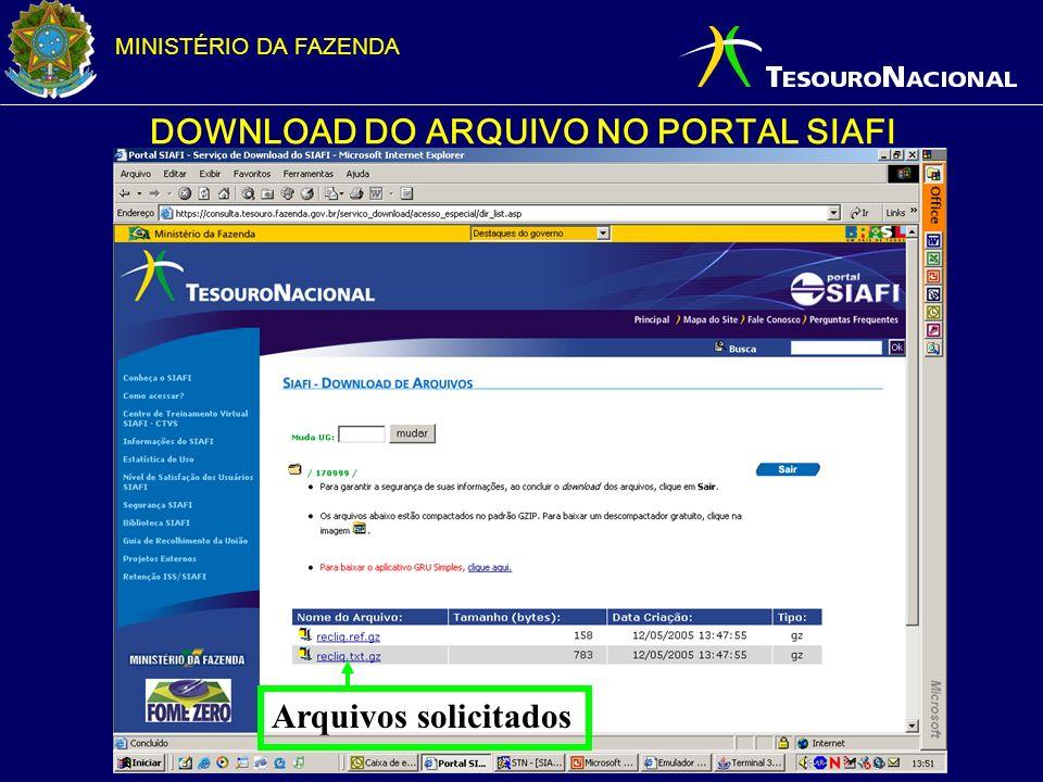 MINISTÉRIO DA FAZENDA DOWNLOAD DO ARQUIVO NO PORTAL SIAFI Arquivos solicitados