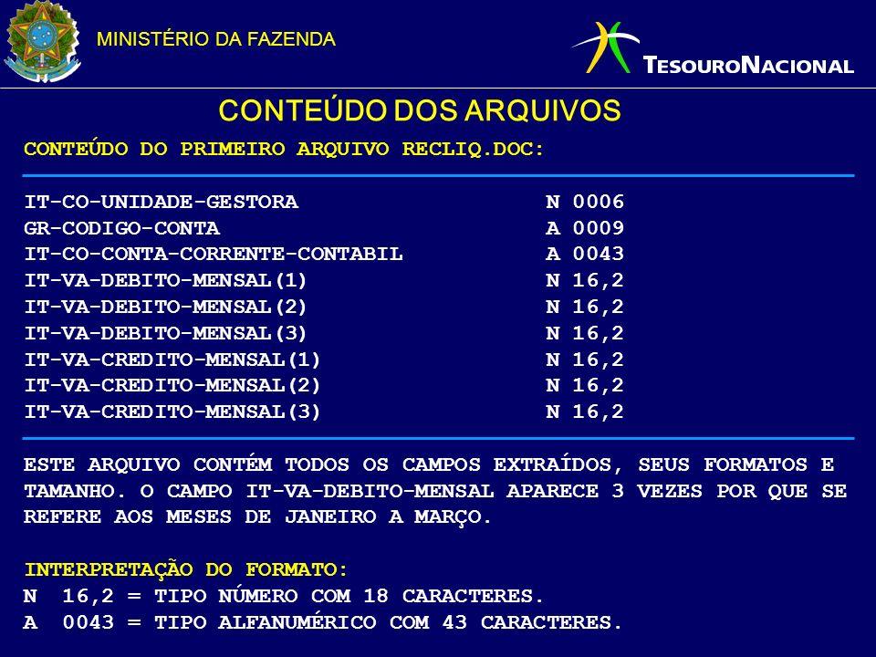 MINISTÉRIO DA FAZENDA CONTEÚDO DOS ARQUIVOS CONTEÚDO DO PRIMEIRO ARQUIVO RECLIQ.DOC: IT-CO-UNIDADE-GESTORA N 0006 GR-CODIGO-CONTA A 0009 IT-CO-CONTA-C