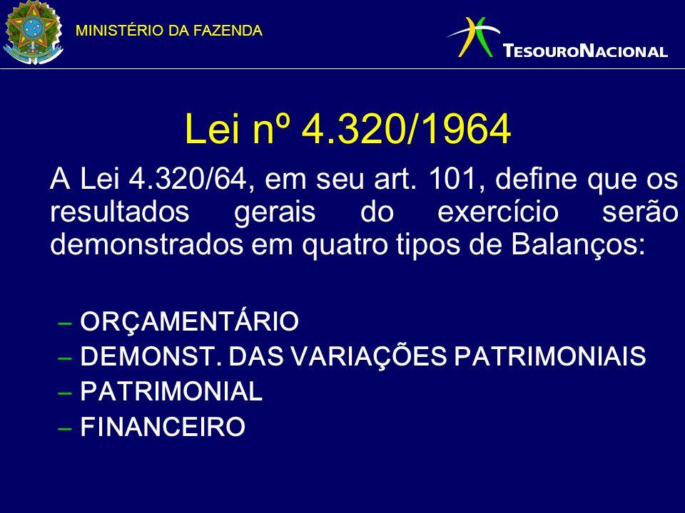 MINISTÉRIO DA FAZENDA Lei nº 4.320/1964 A Lei 4.320/64, em seu art. 101, define que os resultados gerais do exercício serão demonstrados em quatro tip