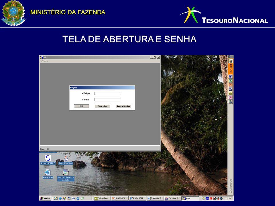 MINISTÉRIO DA FAZENDA TELA DE ABERTURA E SENHA