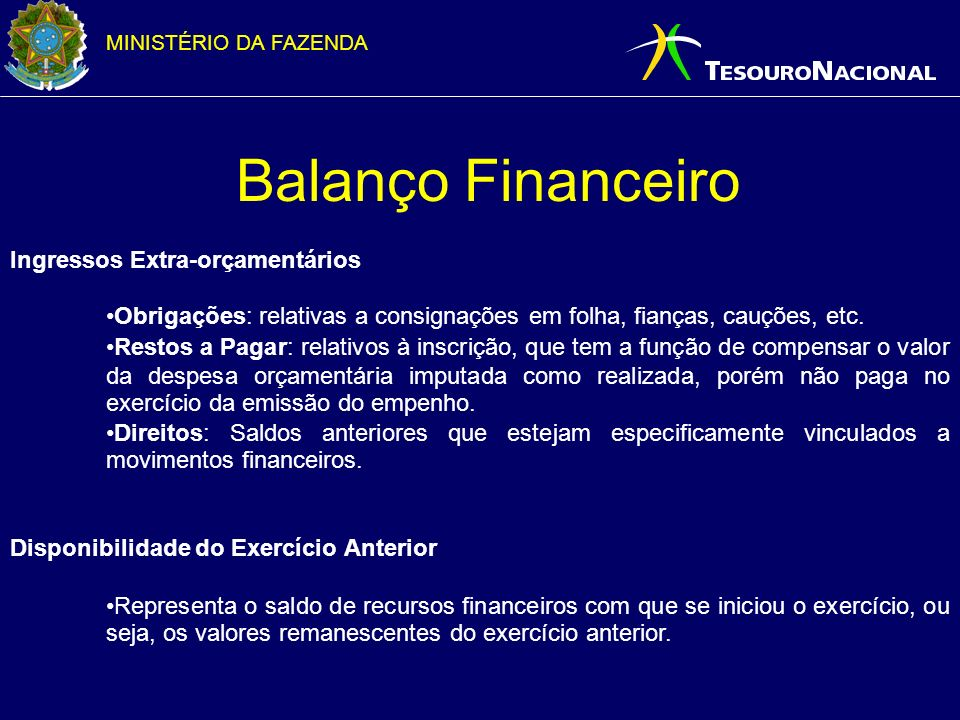 MINISTÉRIO DA FAZENDA Balanço Financeiro Ingressos Extra-orçamentários Obrigações: relativas a consignações em folha, fianças, cauções, etc. Restos a