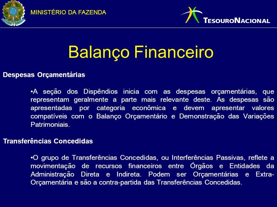 MINISTÉRIO DA FAZENDA Balanço Financeiro Despesas Orçamentárias A seção dos Dispêndios inicia com as despesas orçamentárias, que representam geralment