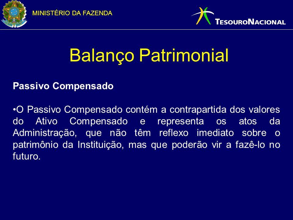 MINISTÉRIO DA FAZENDA Balanço Patrimonial Passivo Compensado O Passivo Compensado cont é m a contrapartida dos valores do Ativo Compensado e represent