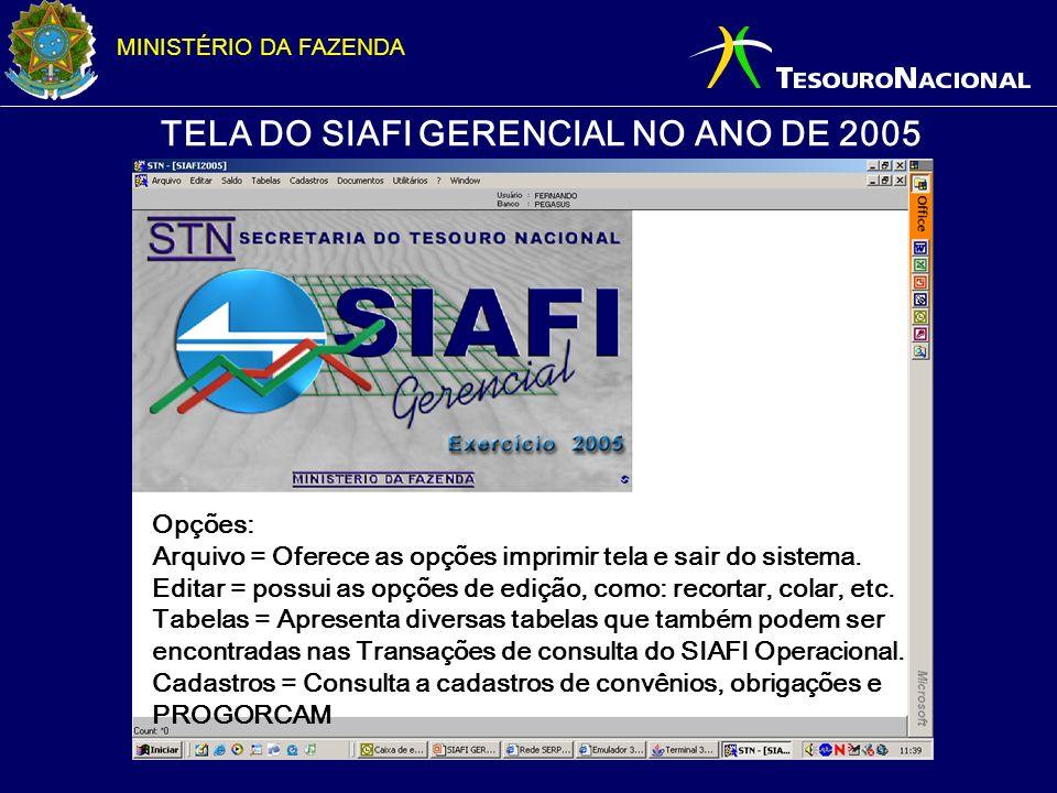 MINISTÉRIO DA FAZENDA TELA DO SIAFI GERENCIAL NO ANO DE 2005 Opções: Arquivo = Oferece as opções imprimir tela e sair do sistema. Editar = possui as o