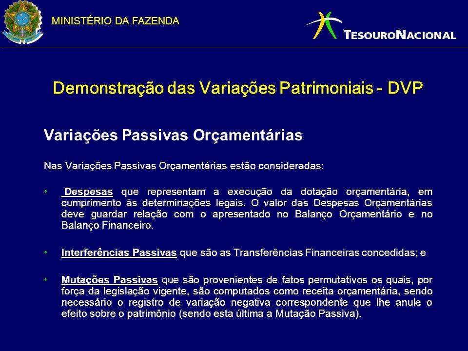 MINISTÉRIO DA FAZENDA Demonstração das Variações Patrimoniais - DVP Variações Passivas Orçamentárias Nas Varia ç ões Passivas Or ç ament á rias estão