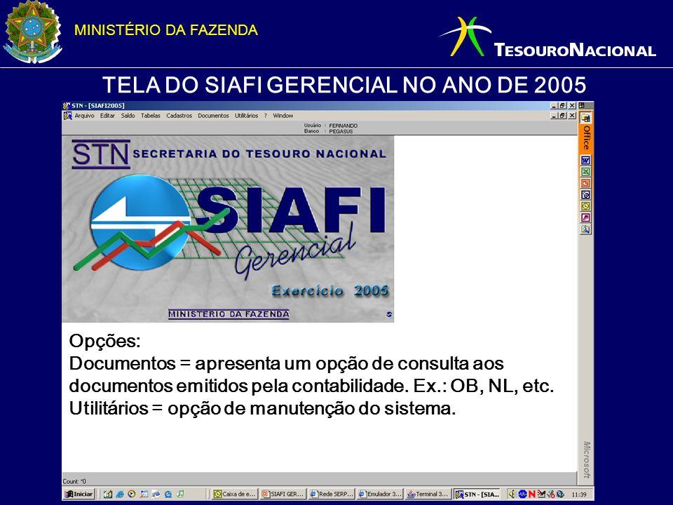 MINISTÉRIO DA FAZENDA TELA DO SIAFI GERENCIAL NO ANO DE 2005 Opções: Documentos = apresenta um opção de consulta aos documentos emitidos pela contabil