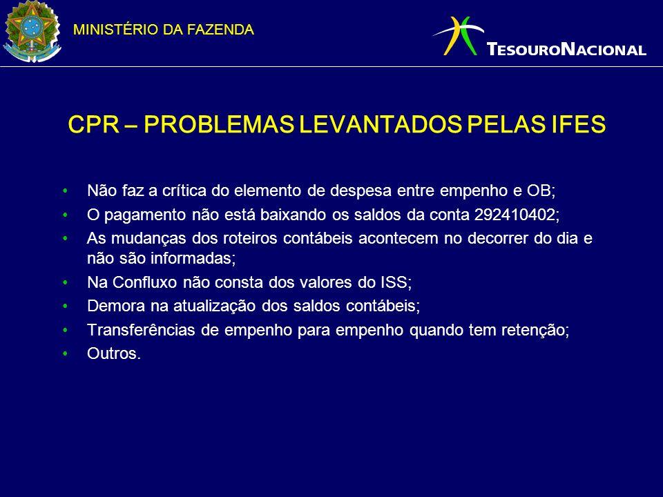 MINISTÉRIO DA FAZENDA CPR – PROBLEMAS LEVANTADOS PELAS IFES Não faz a crítica do elemento de despesa entre empenho e OB; O pagamento não está baixando