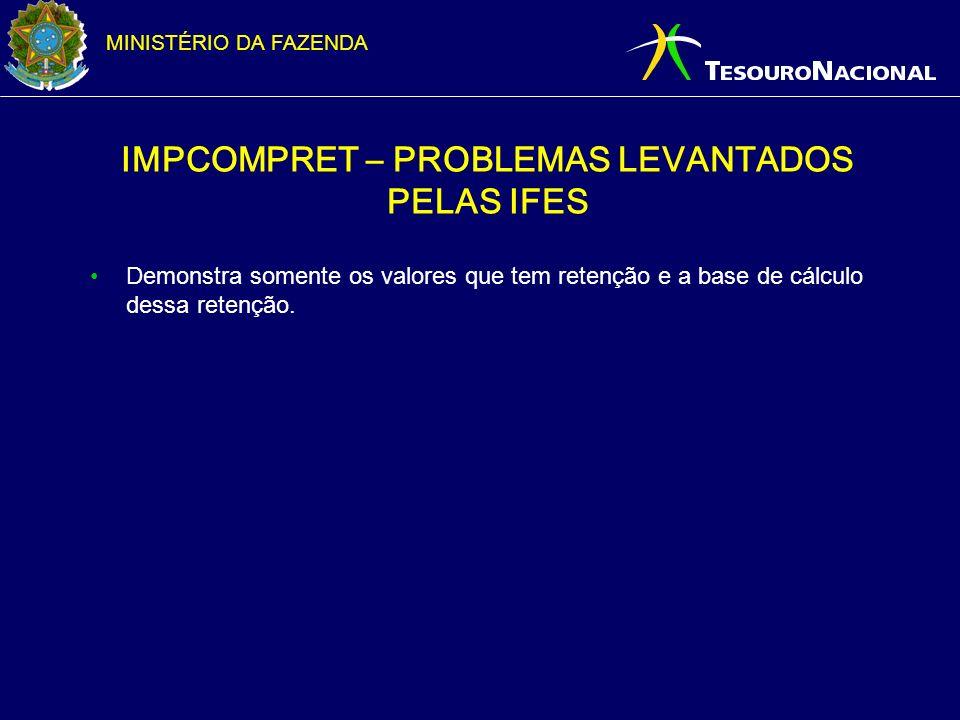 MINISTÉRIO DA FAZENDA IMPCOMPRET – PROBLEMAS LEVANTADOS PELAS IFES Demonstra somente os valores que tem retenção e a base de cálculo dessa retenção.