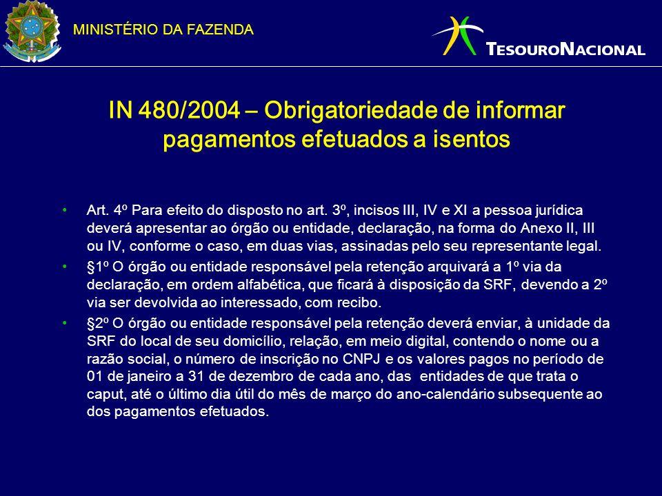 MINISTÉRIO DA FAZENDA IN 480/2004 – Obrigatoriedade de informar pagamentos efetuados a isentos Art. 4º Para efeito do disposto no art. 3º, incisos III