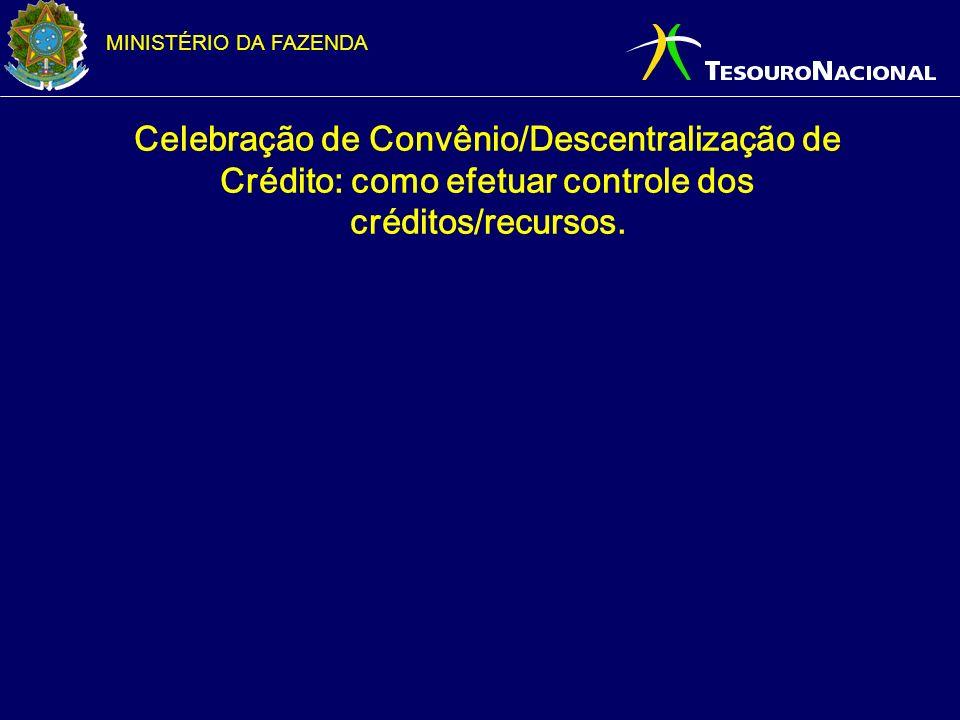 MINISTÉRIO DA FAZENDA Celebração de Convênio/Descentralização de Crédito: como efetuar controle dos créditos/recursos.