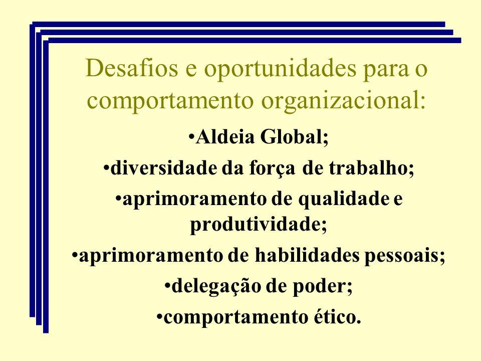 Desafios e oportunidades para o comportamento organizacional: Aldeia Global; diversidade da força de trabalho; aprimoramento de qualidade e produtivid