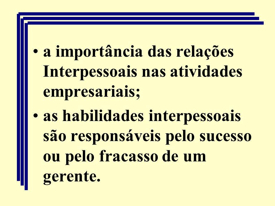 a importância das relações Interpessoais nas atividades empresariais; as habilidades interpessoais são responsáveis pelo sucesso ou pelo fracasso de u