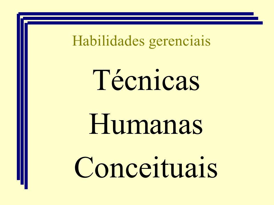 Habilidades gerenciais Técnicas Humanas Conceituais