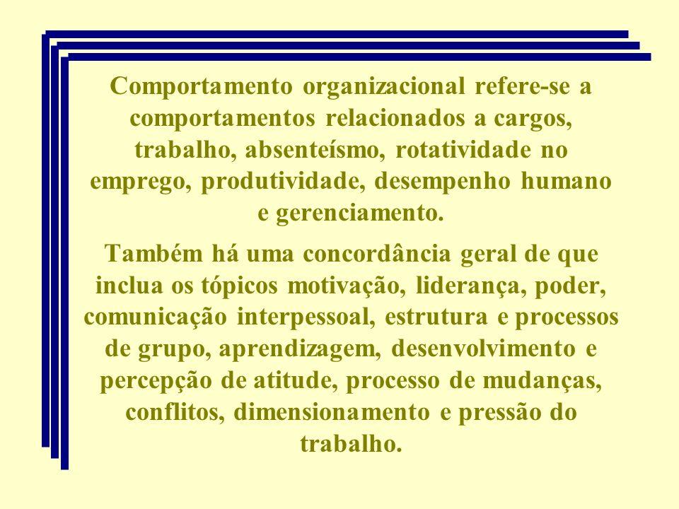 Comportamento organizacional refere-se a comportamentos relacionados a cargos, trabalho, absenteísmo, rotatividade no emprego, produtividade, desempen