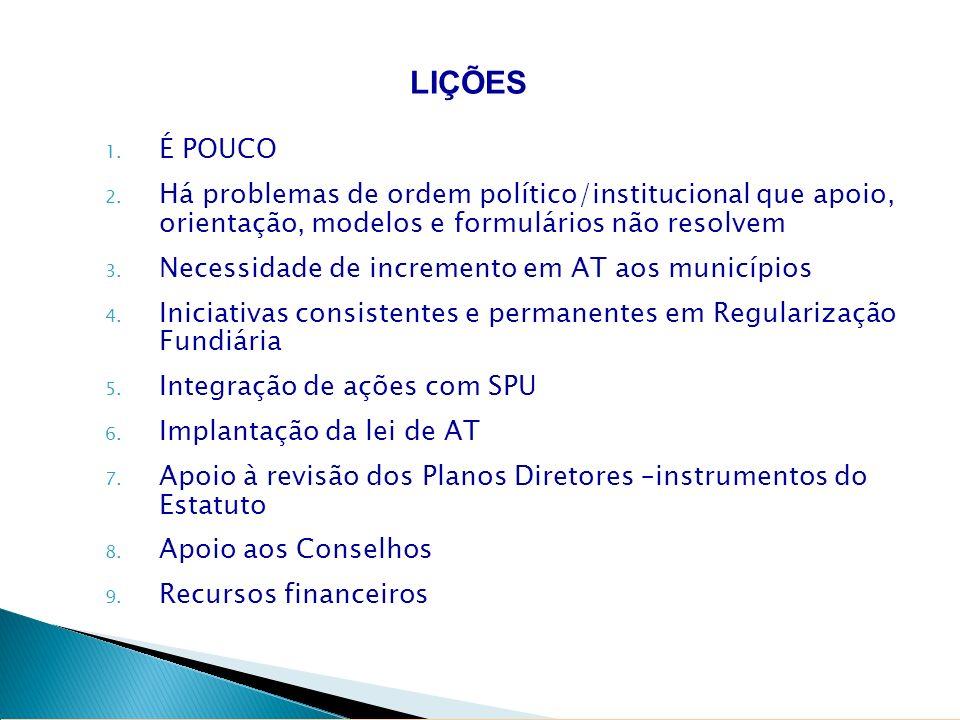 1. É POUCO 2. Há problemas de ordem político/institucional que apoio, orientação, modelos e formulários não resolvem 3. Necessidade de incremento em A