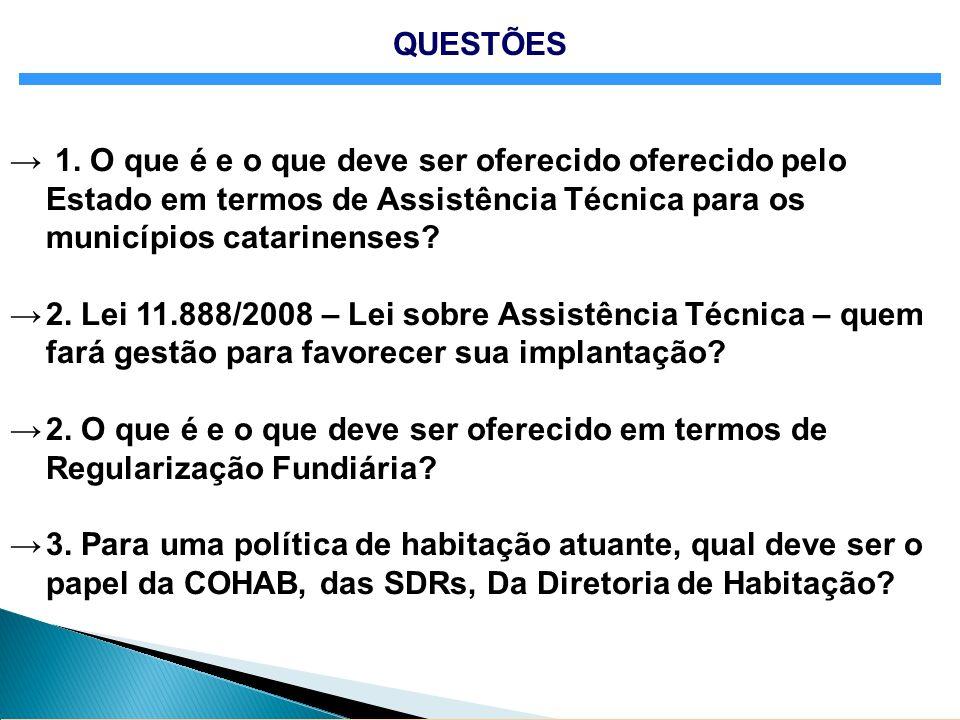 1. O que é e o que deve ser oferecido oferecido pelo Estado em termos de Assistência Técnica para os municípios catarinenses? 2. Lei 11.888/2008 – Lei