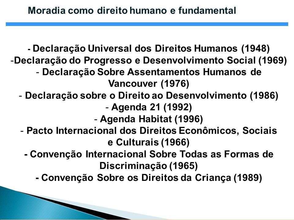 Moradia como direito humano e fundamental - Declaração Universal dos Direitos Humanos (1948) -Declaração do Progresso e Desenvolvimento Social (1969)