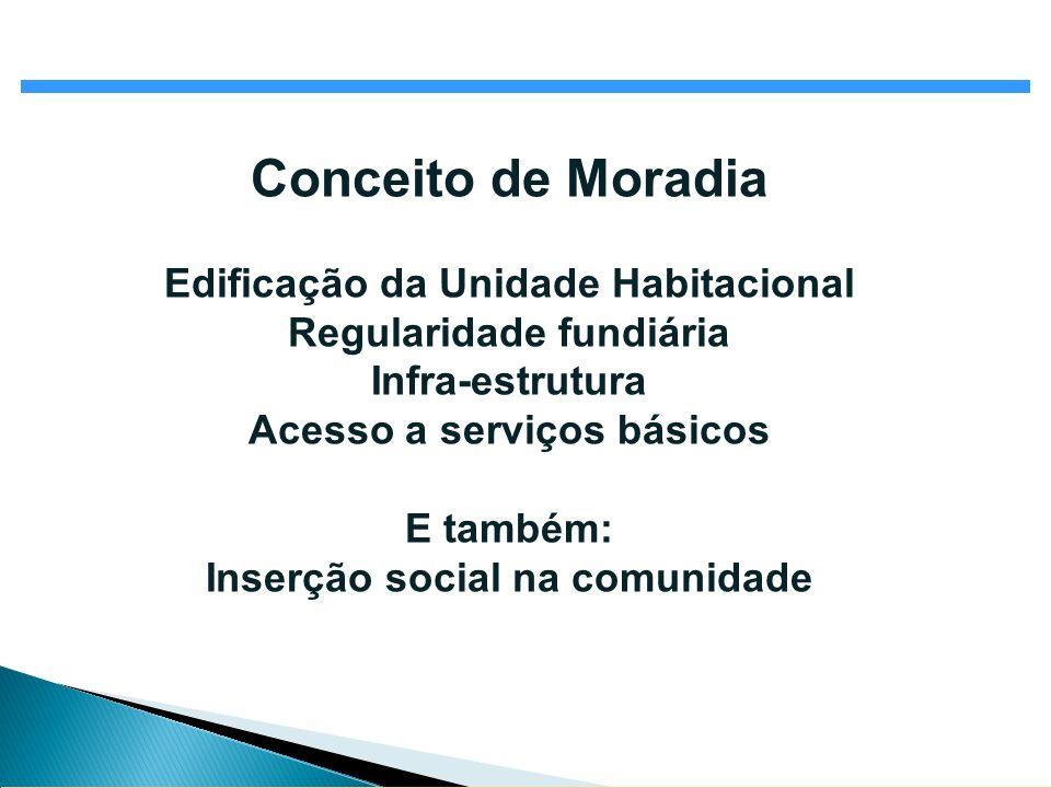 Conceito de Moradia Edificação da Unidade Habitacional Regularidade fundiária Infra-estrutura Acesso a serviços básicos E também: Inserção social na c